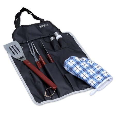 BBQ Tools Apron 6 Piece Set