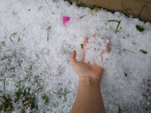 Hail Photo submitted to Ozarks First by Kristen Chilson from Hollister.
