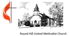 Round Hill United Methodist Church with cross and flame copy