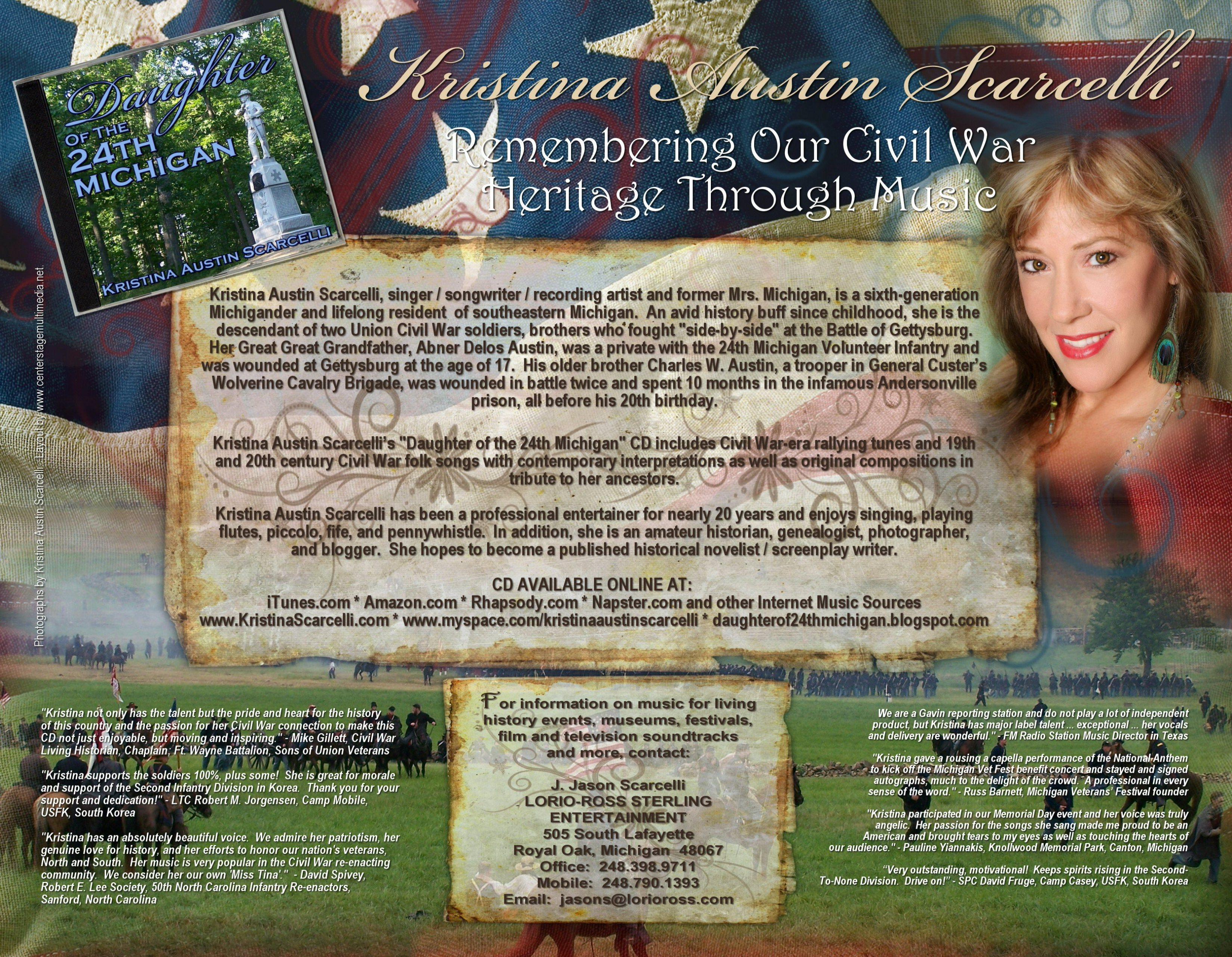 Kristina Austin Scarcelli Daughter of the 24th Michigan Civil War Songs