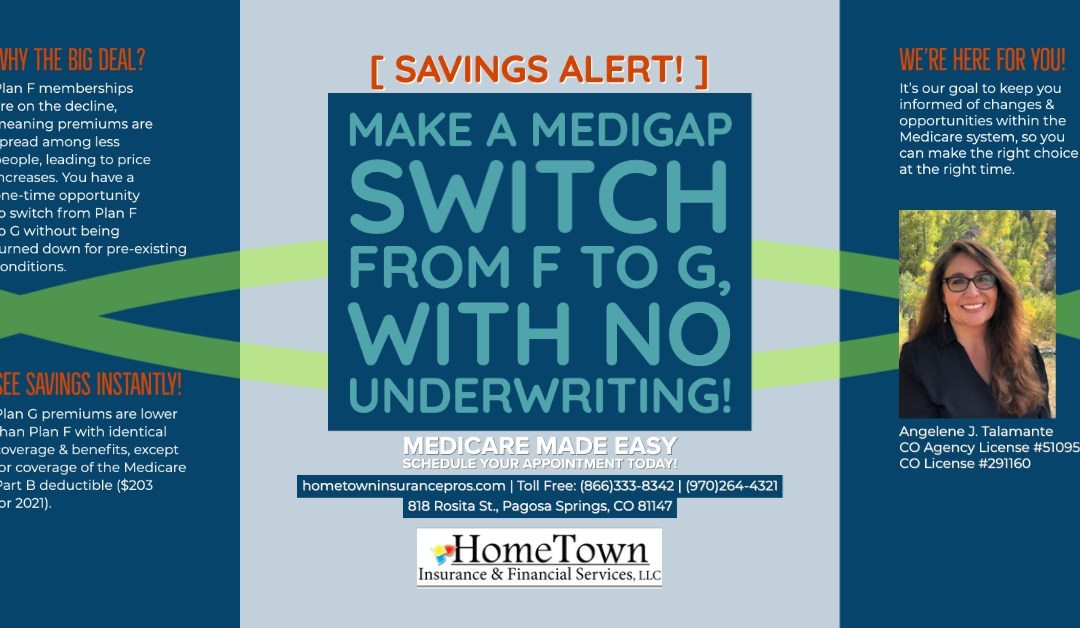 Savings Alert, Make a Medigap Switch from F to G, With No Underwriting!