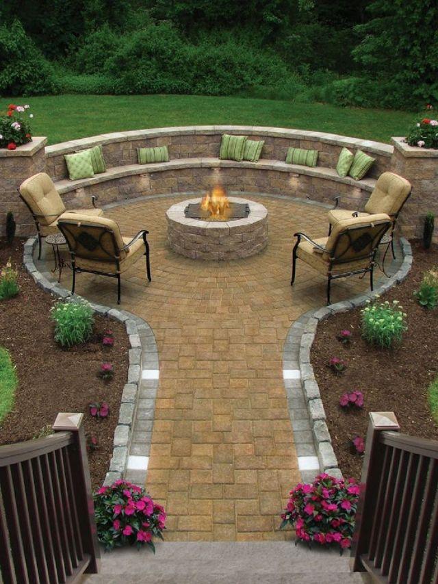 Garden Backyard Design Ideas With Fireplace 01
