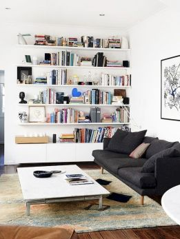 50 ++ Amazing Living Room Designs With Floating Shelves 157