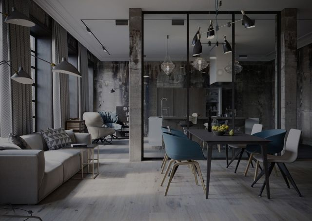 Industrial Style Apartment Dining Room 2