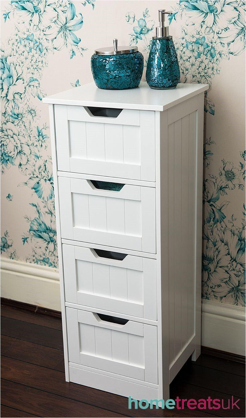 White Freestanding Bathroom CabinetTall 4 Drawer Storage