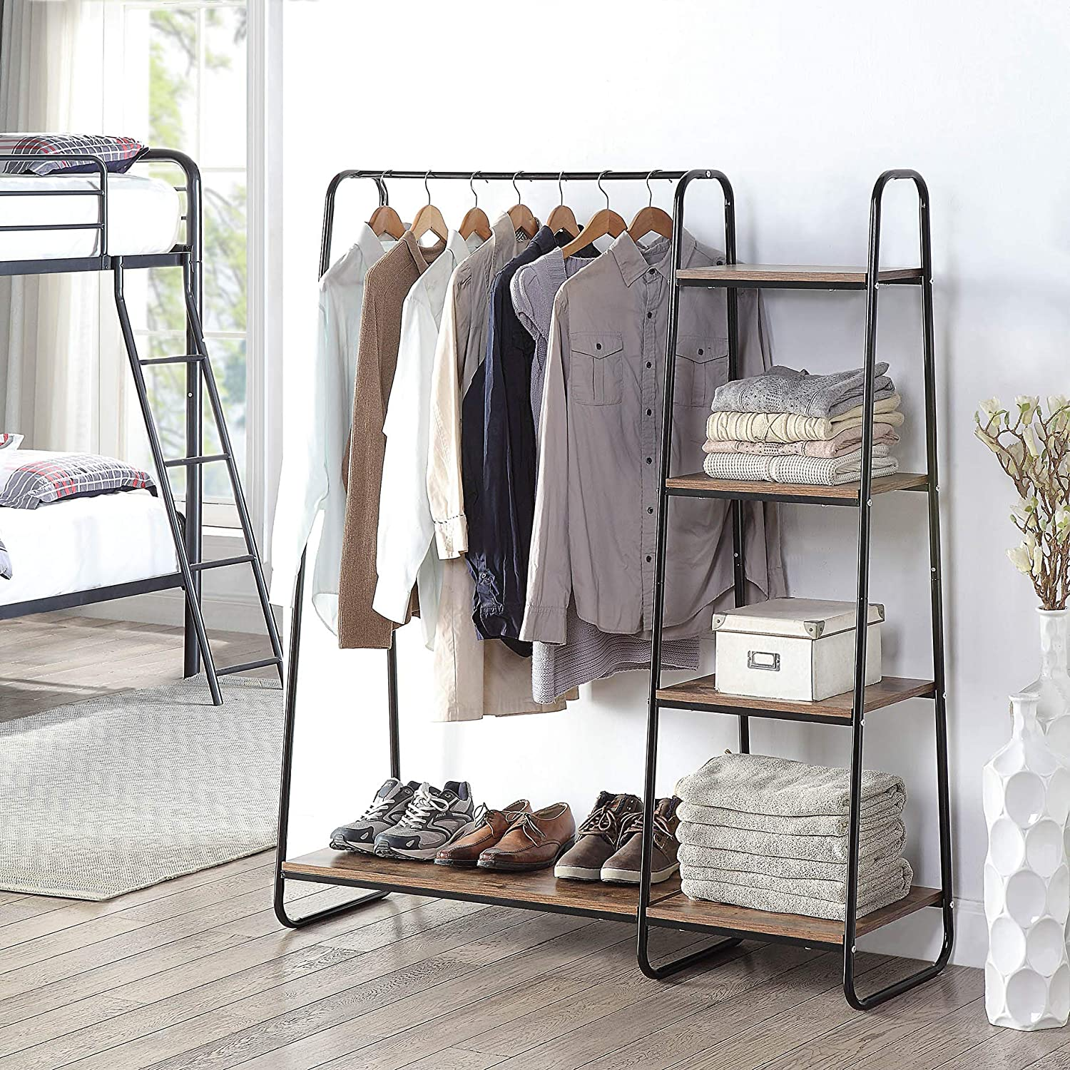 extra wide clothes rack with shelving and shoe rack