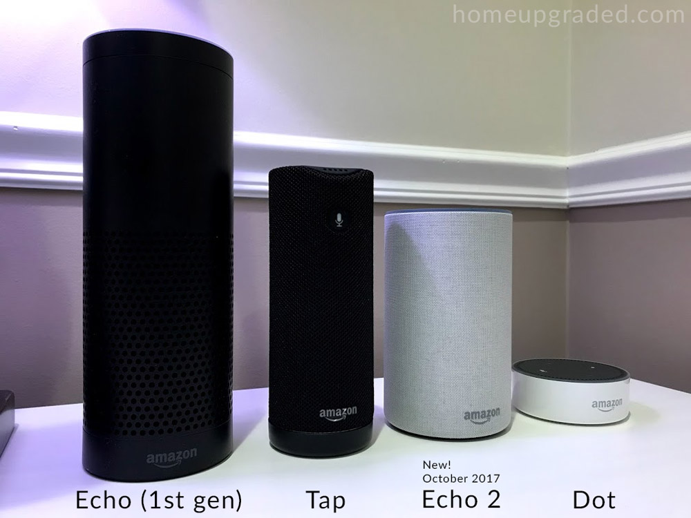 From left to right: Echo 1st gen, Echo Tap, Echo 2, Echo Dot