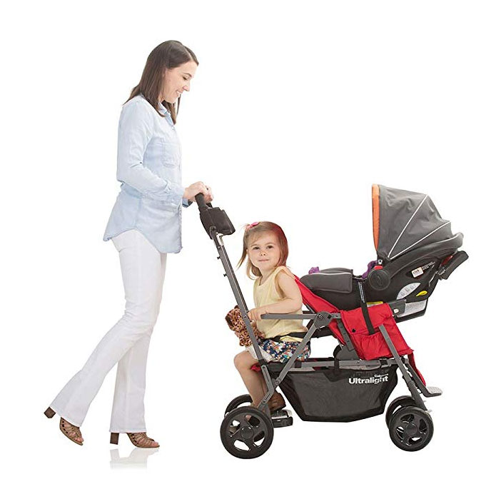 Joovy Caboose includes a car seat adapter for smaller babies.