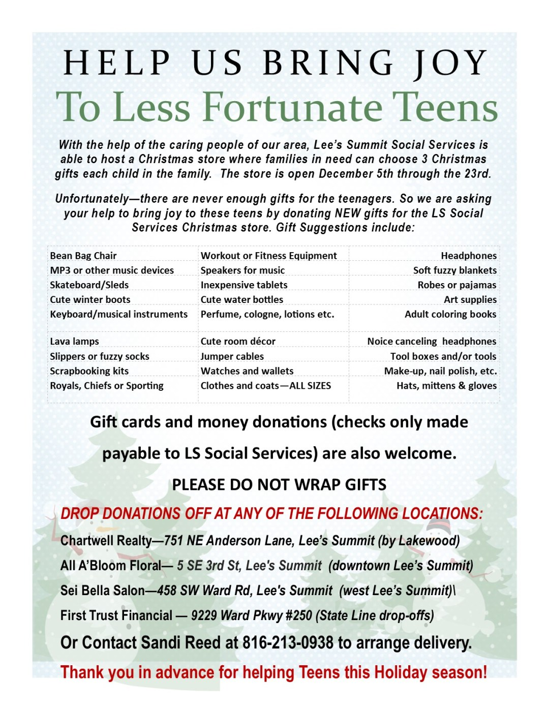 gift cards and money donations checks only made payable to ls social services are also welcome please do not wrap gifts