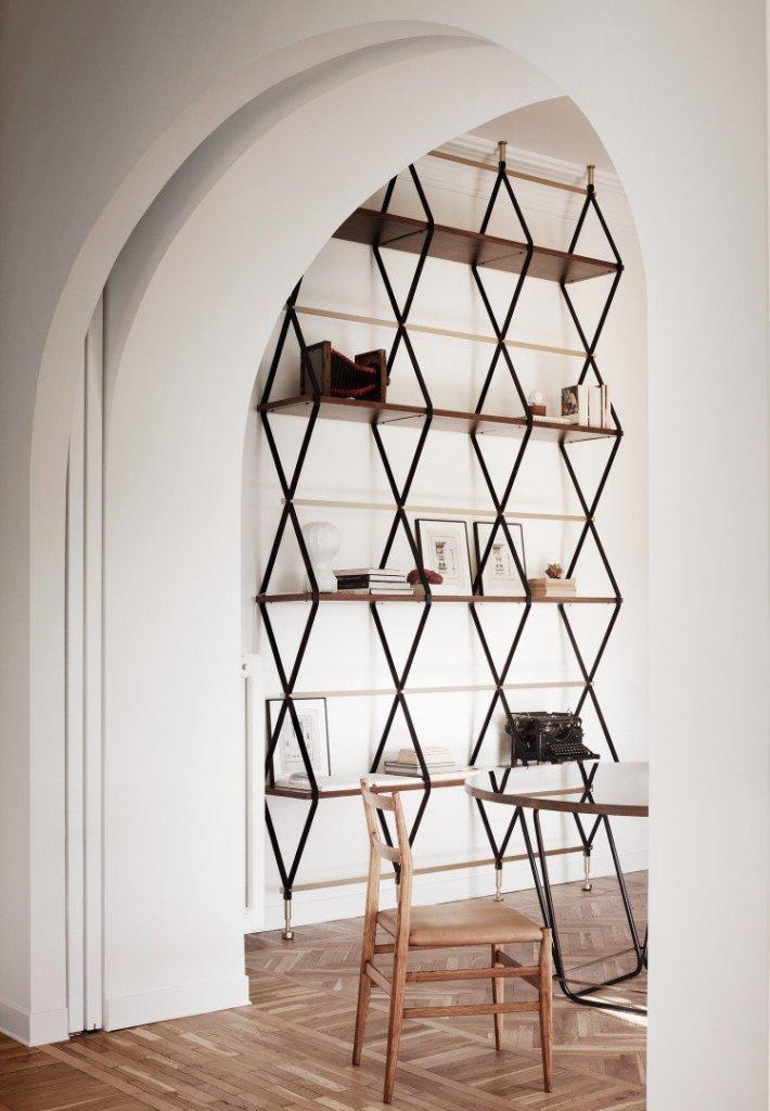 modern rome apartment fancy bookshelf