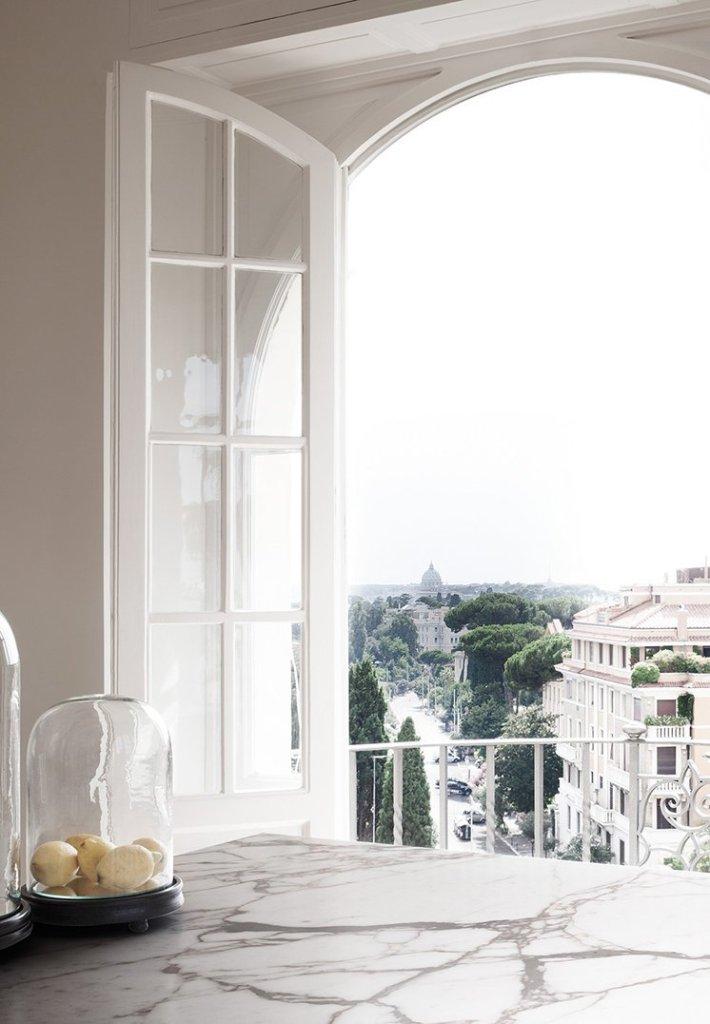 modern rome apartment window view