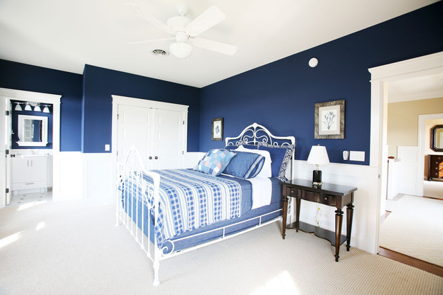 dark blue bedroom with white