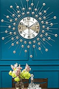 chic metallic round metal wall clock large metal wall decor