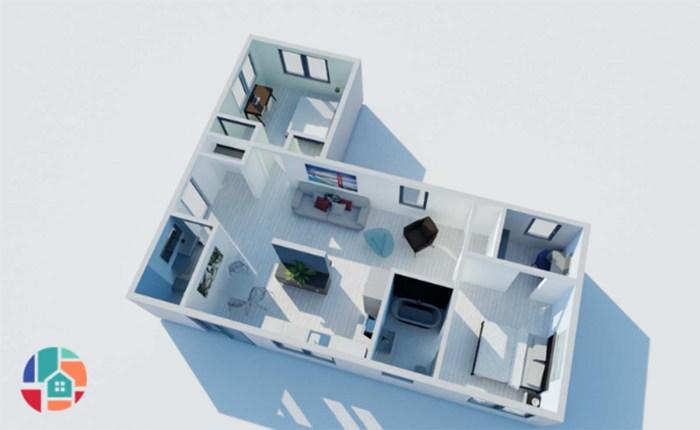 1000 SF L shaped backyard home