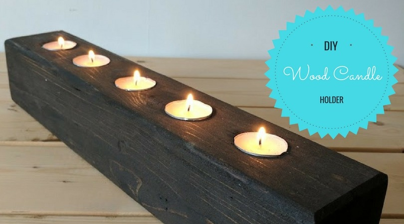 diy wood block candle holder