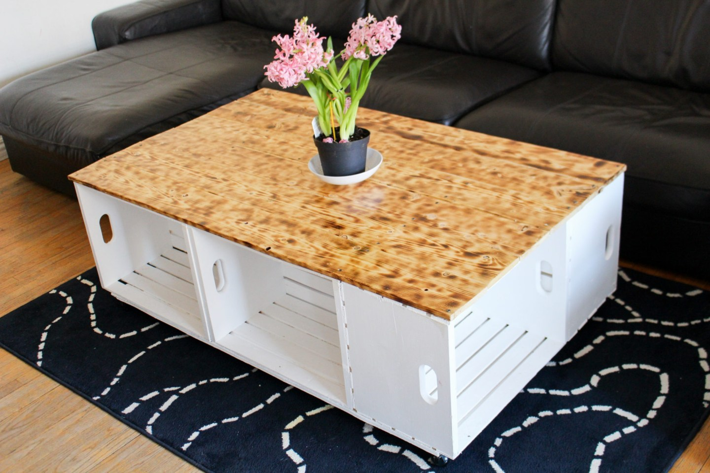 DIY Wood Crate Coffee Table with Burnt Wood Top