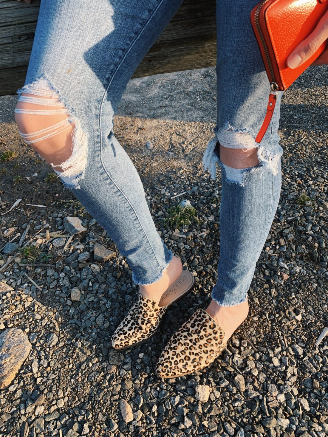 abercrombie jeans ripped knee sole society cheetah mules