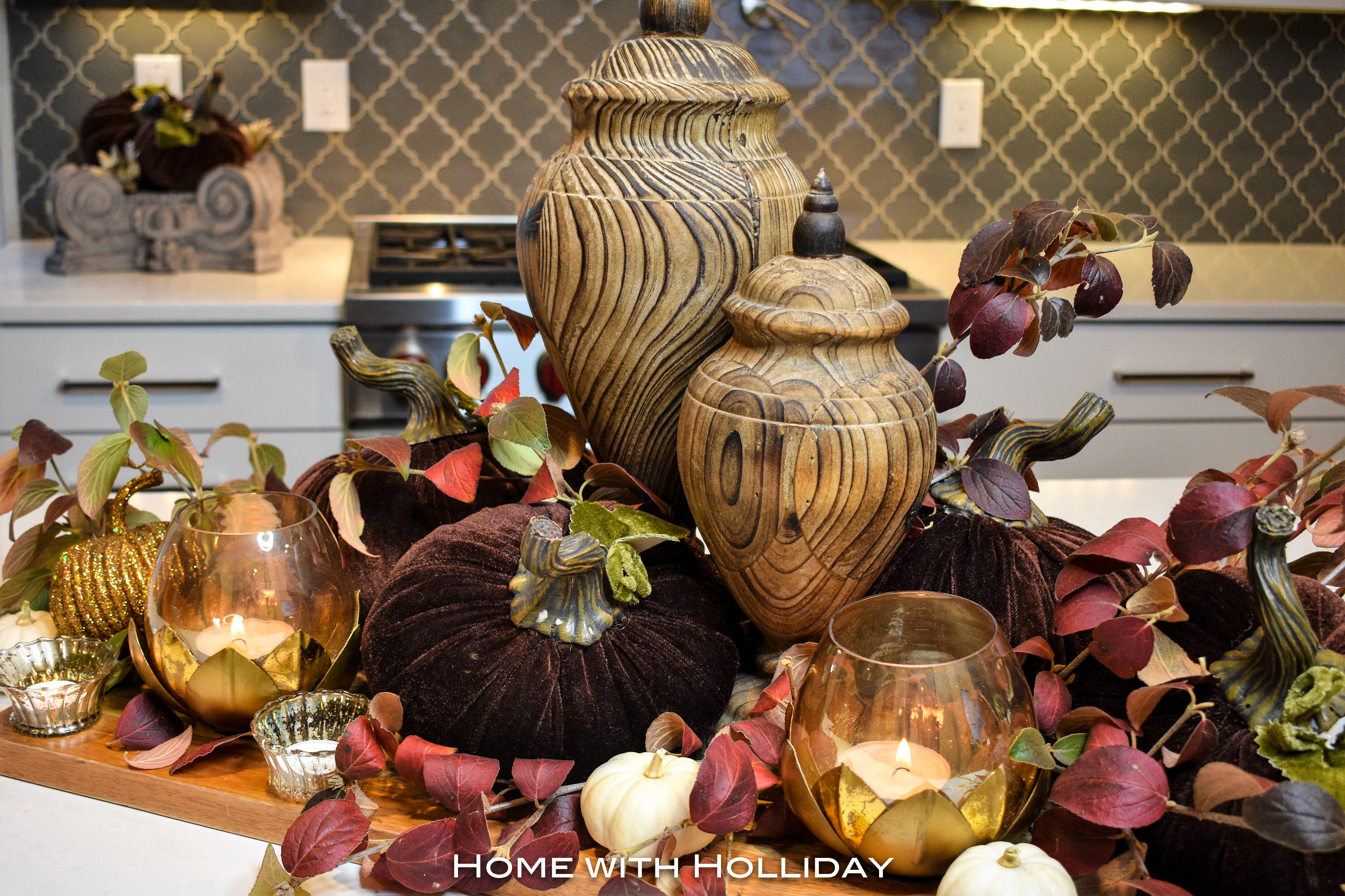 Fall Centerpiece in Fall Kitchen Tour