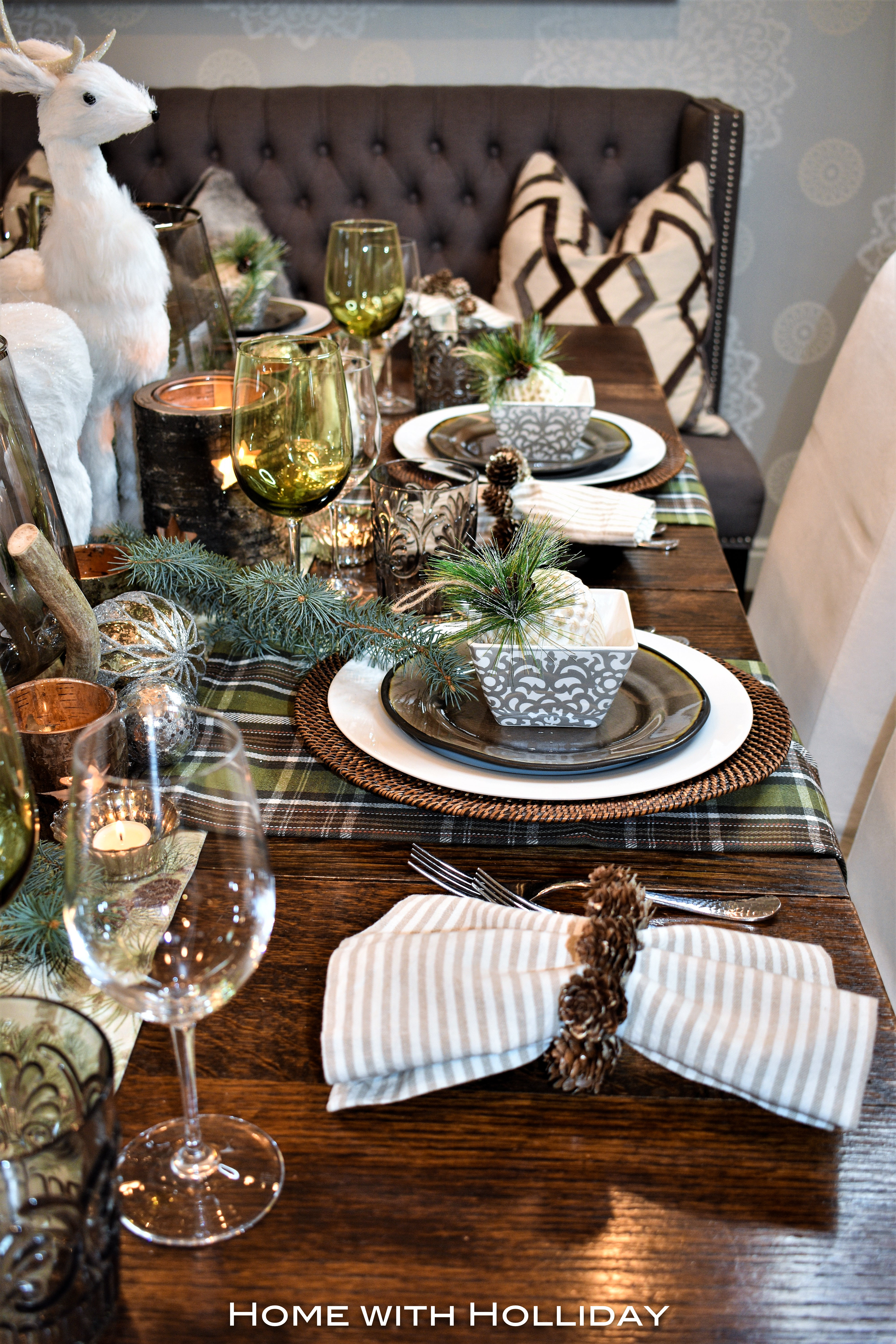 Place Settings for a Rustic Winter Christmas Table Setting
