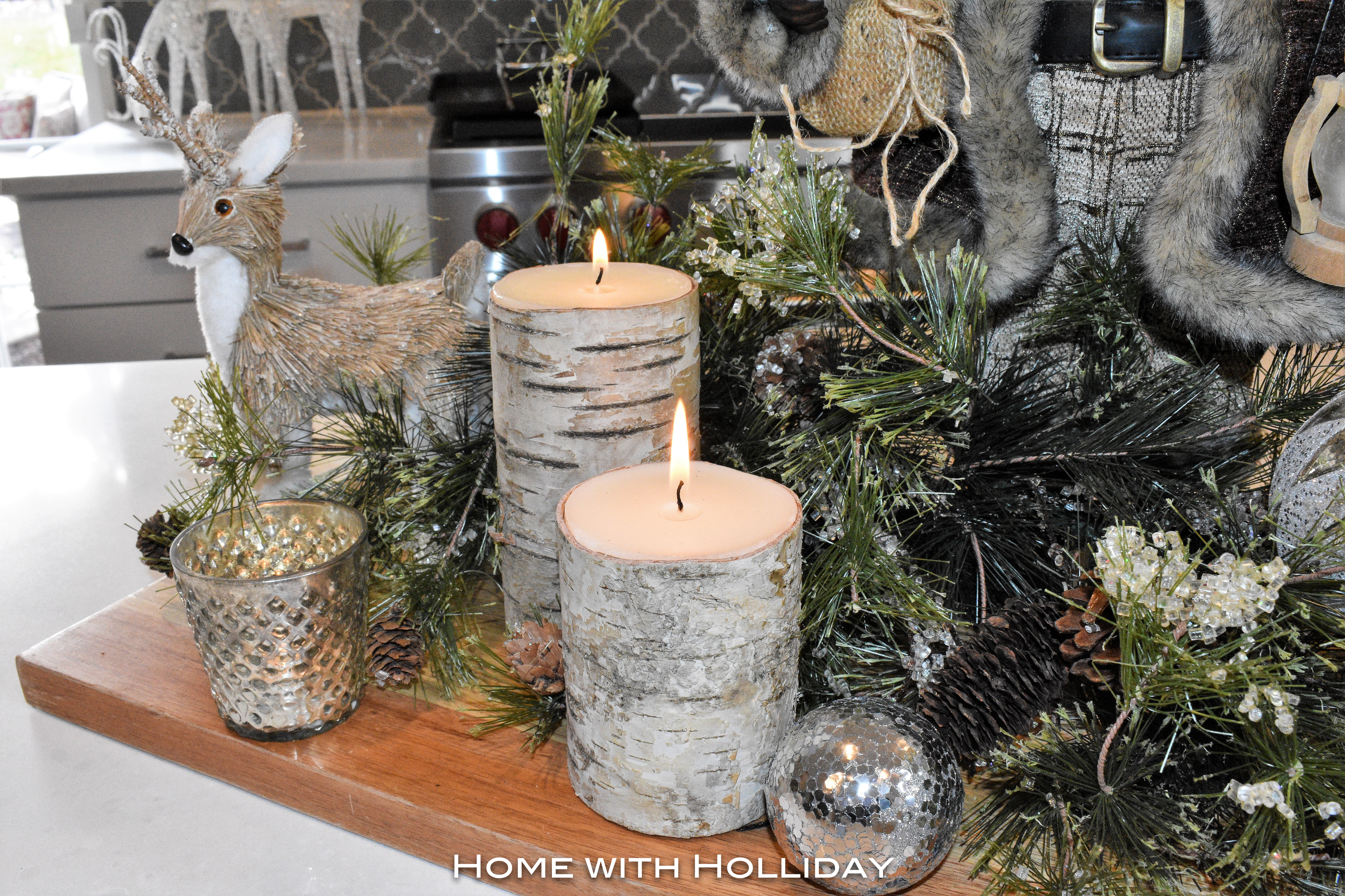 Rustic Winter Christmas Centerpiece with Birch Candles - Home with Holliday