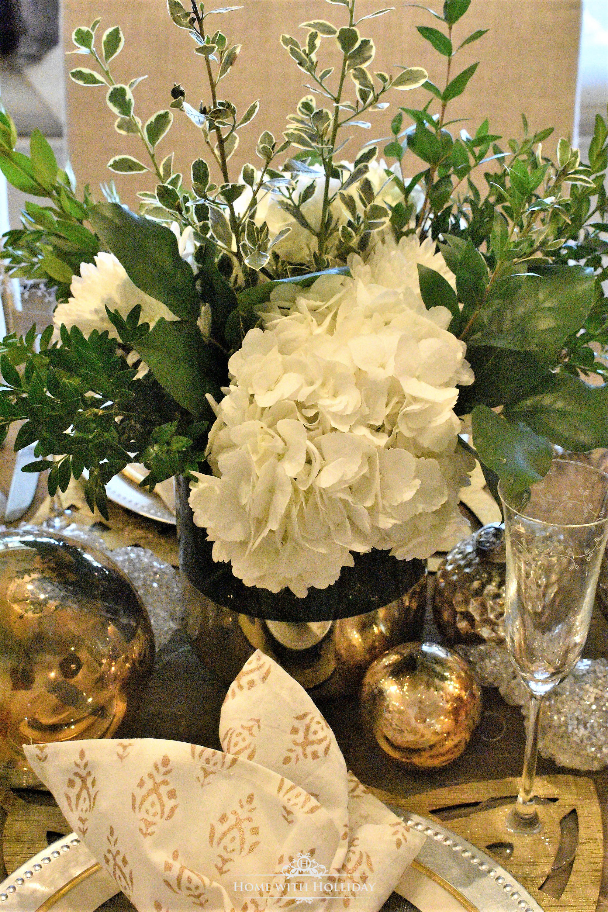 Gold and Silver Table Setting for Christmas or New Year's Eve - Home with Holliday