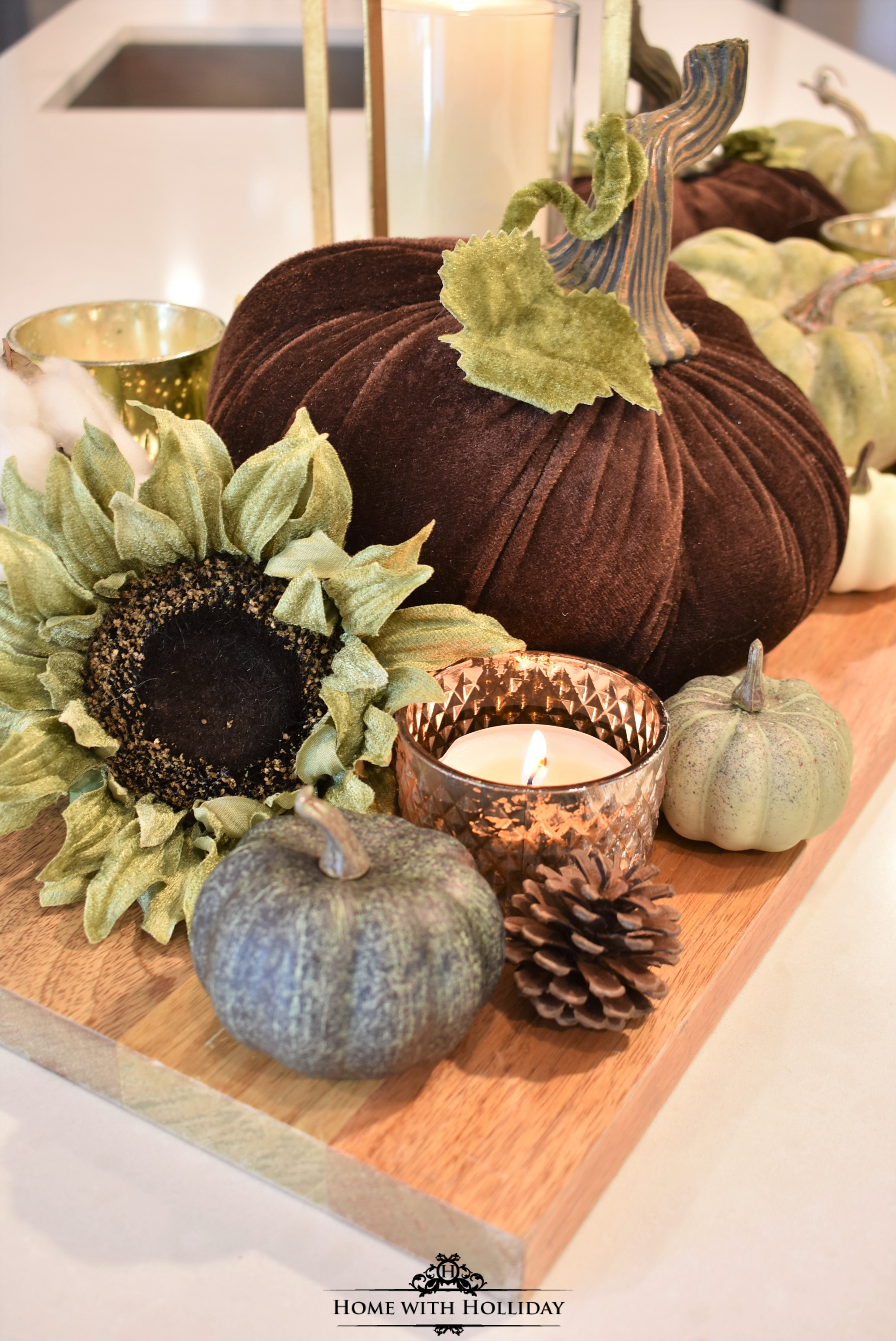 Fall Vignette with Velvet Pumpkins 2