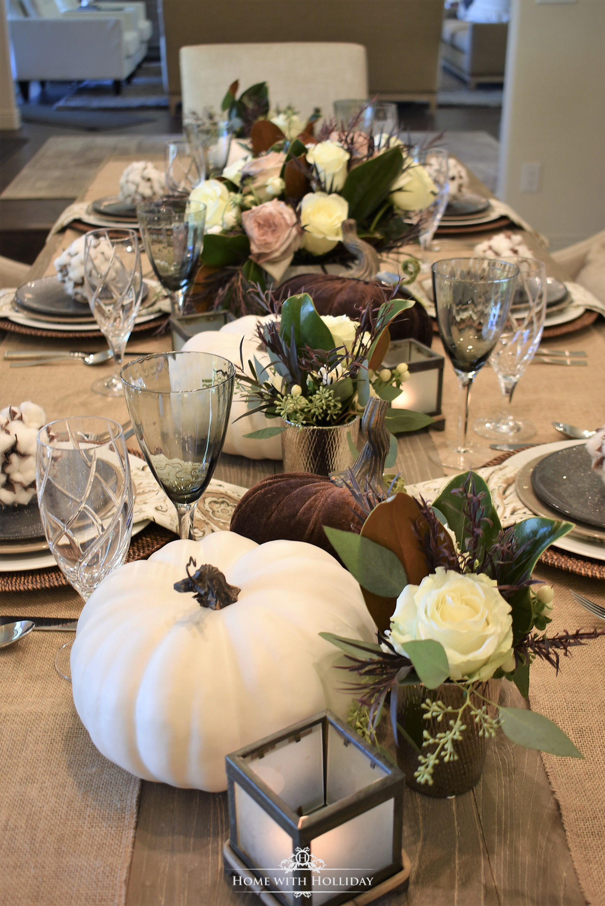 Fall Table Setting with Brown and White Pumpkins - Centerpiece