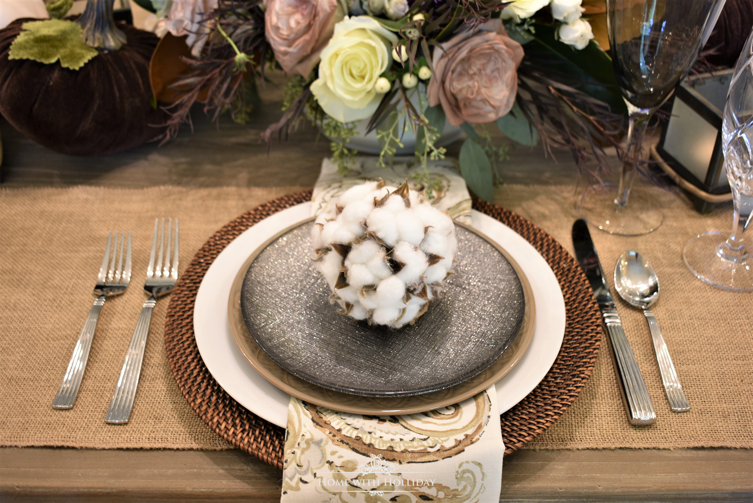 The Place Settings for my Fall Table Setting with Brown and White Pumpkins