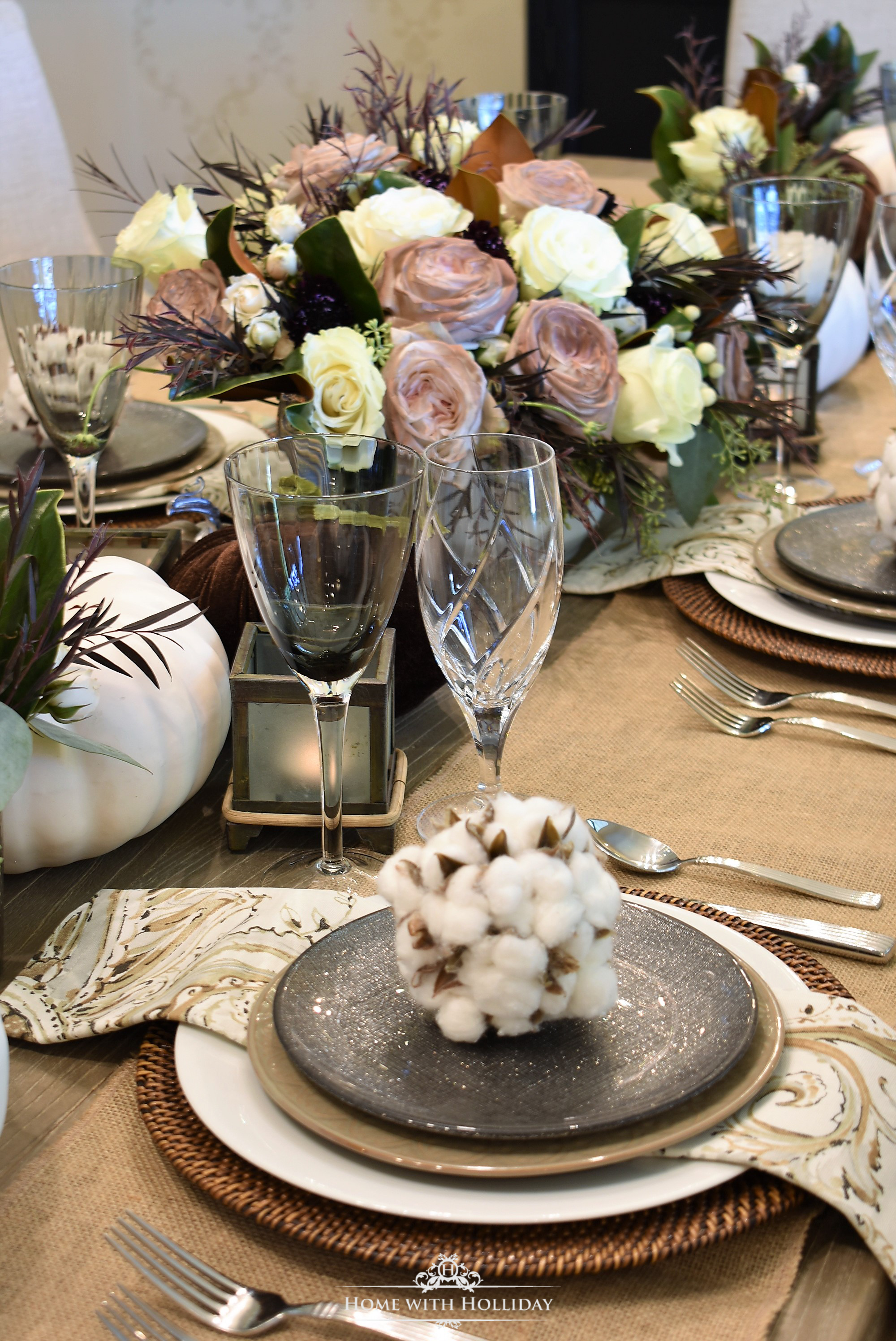 Fall Table Setting with Brown and White Pumpkins - The Place Settings