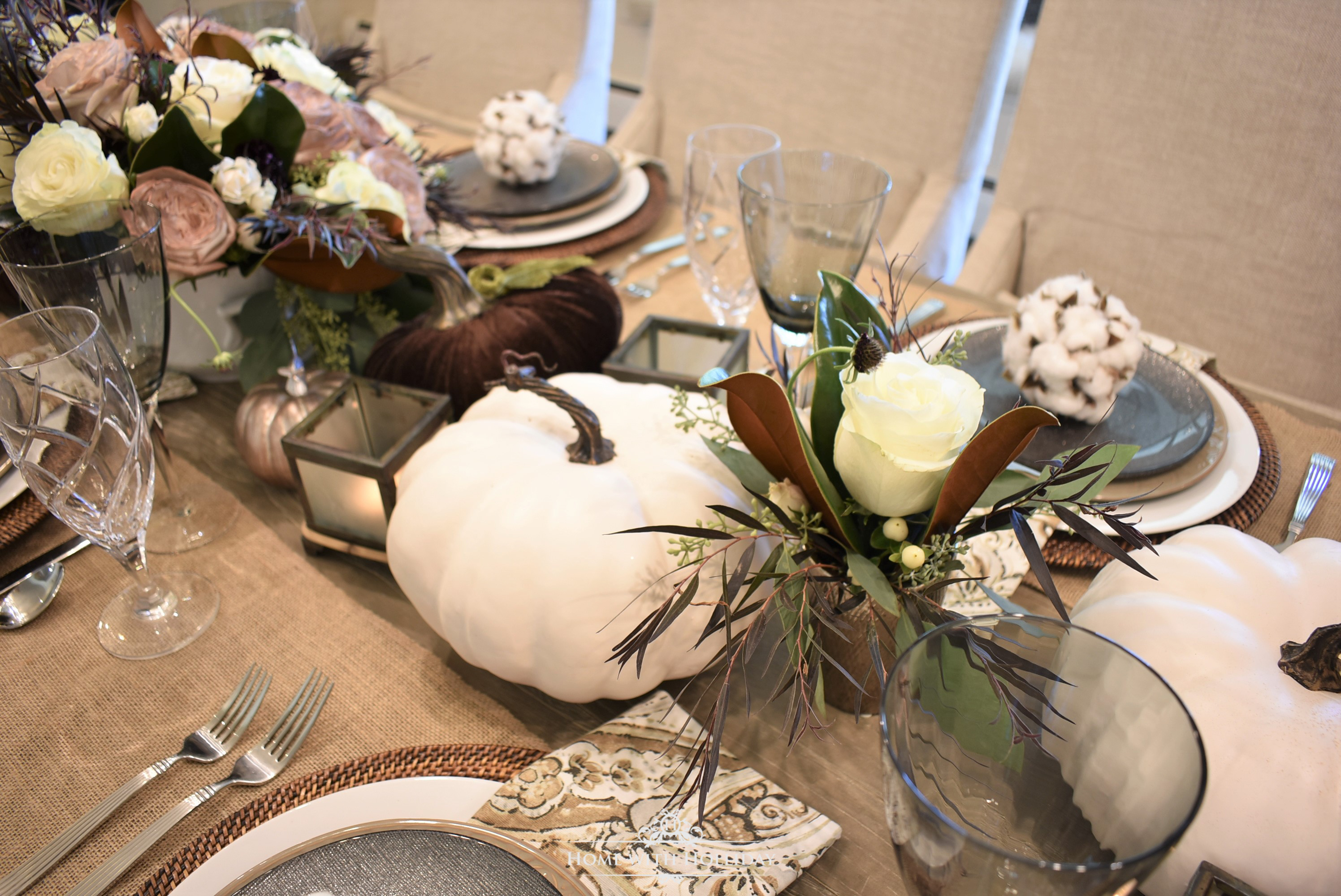 Florals for a Fall Table Setting with Brown and White Pumpkins