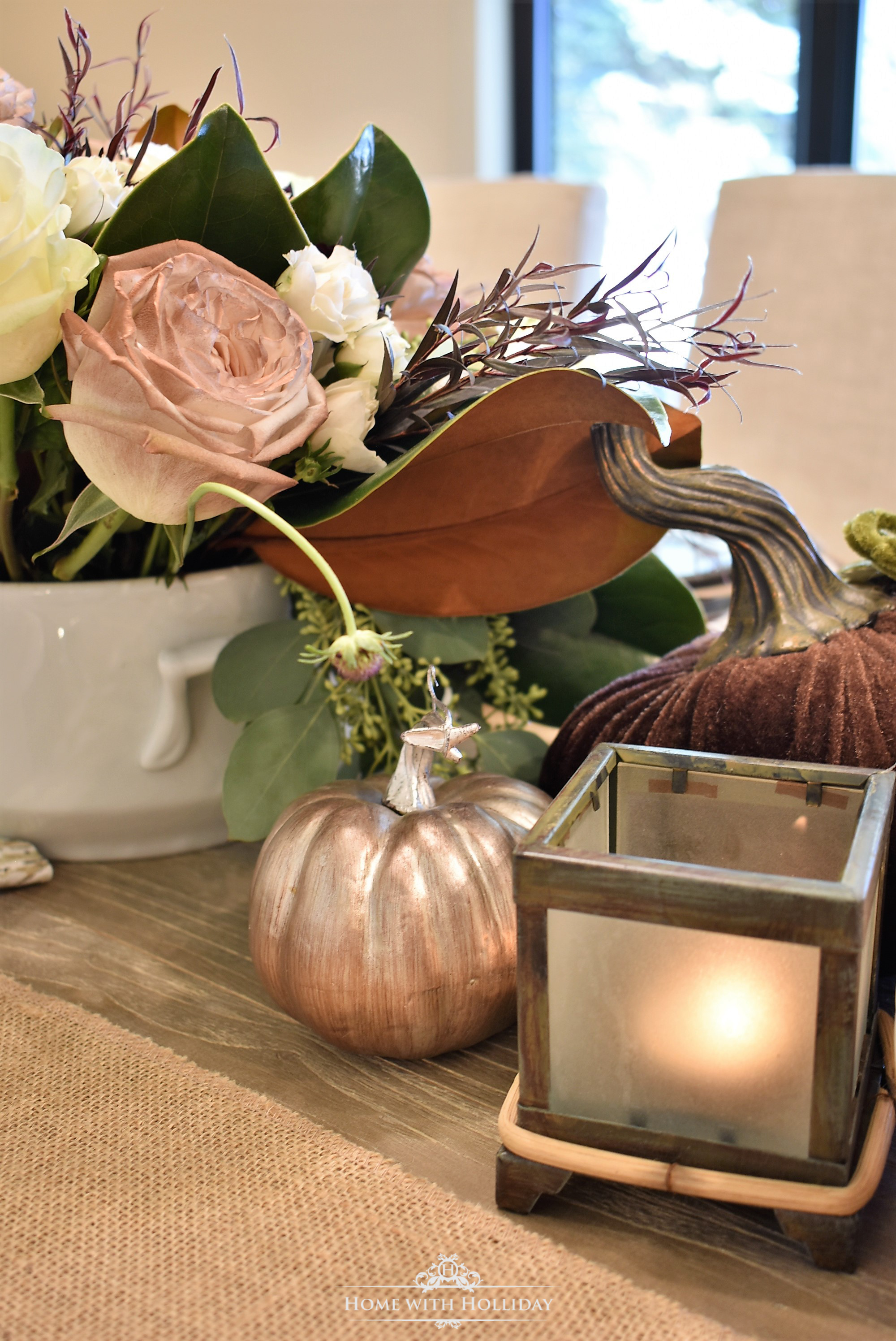 Pumpkins in Fall Table Setting with Brown and White Pumpkin
