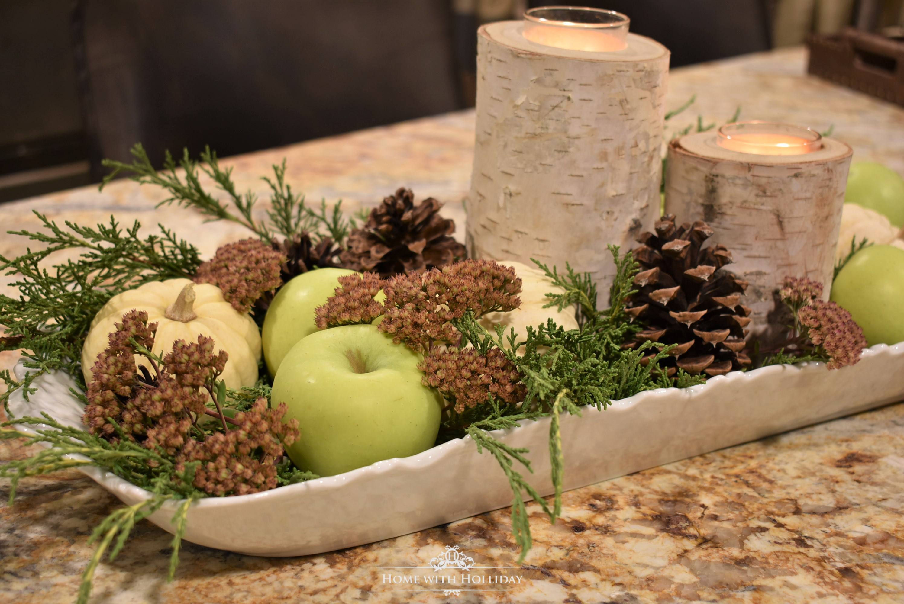 Fall Centerpiece with Green Apples - Home with Holliday