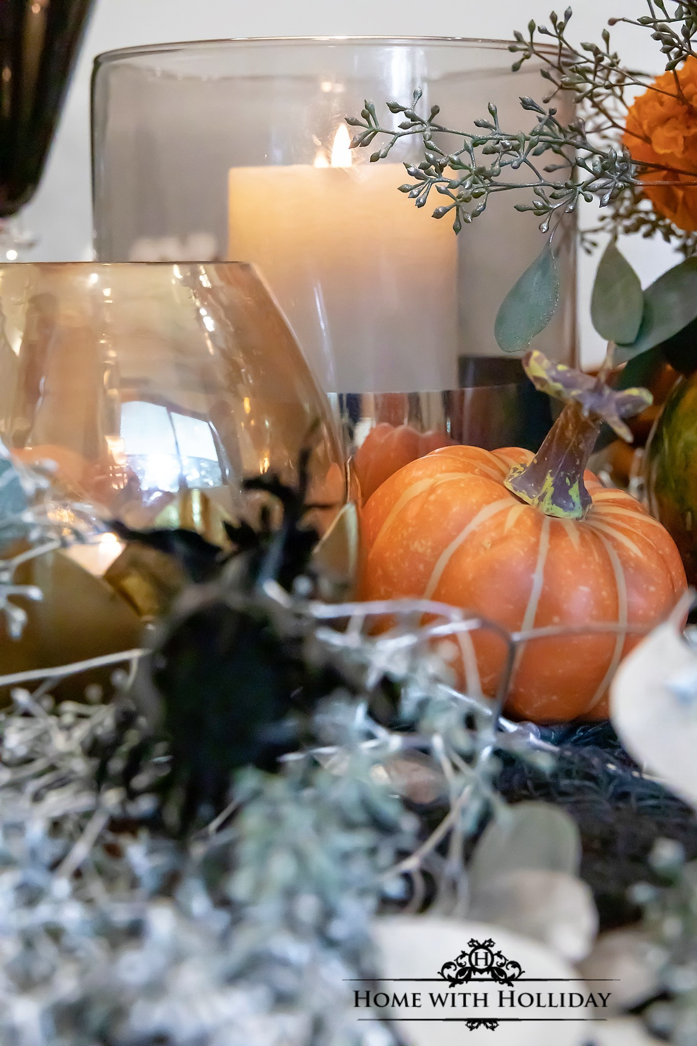 Elegant Halloween Table Setting with Pumpkins - Home with Holliday