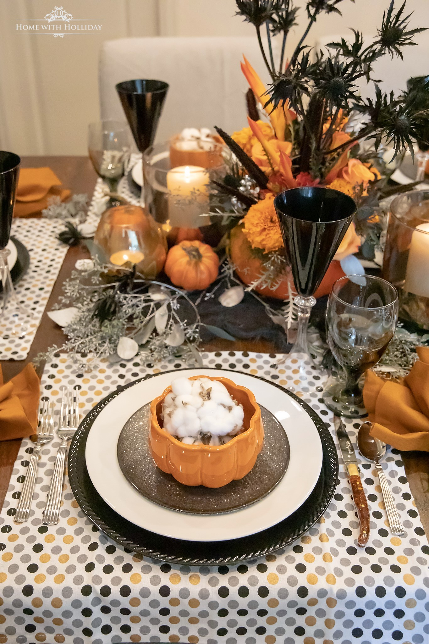 Elegant Halloween Tablescape with Pumpkins - Home with Holliday