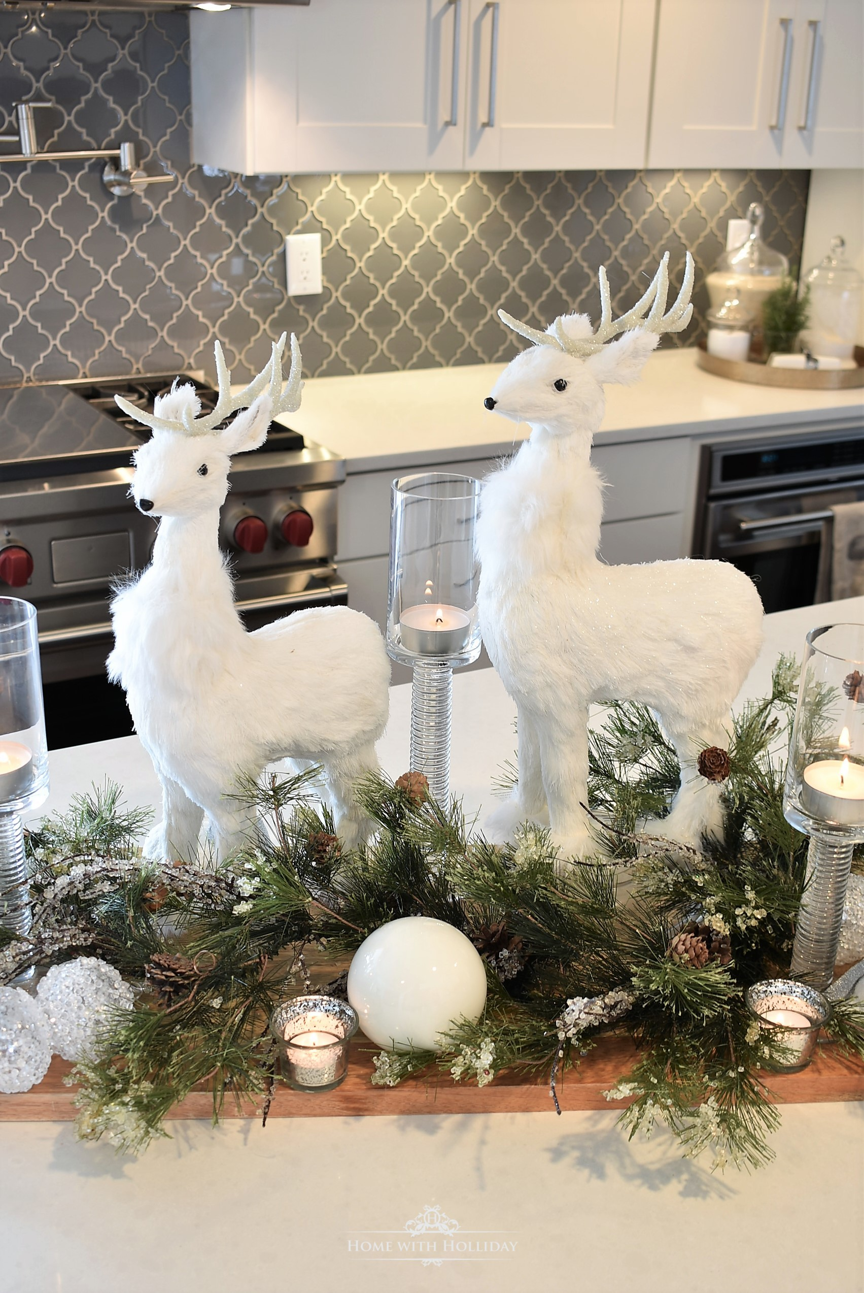 My Christmas Home Tour - Winter White Christmas Centerpiece - Home with Holliday
