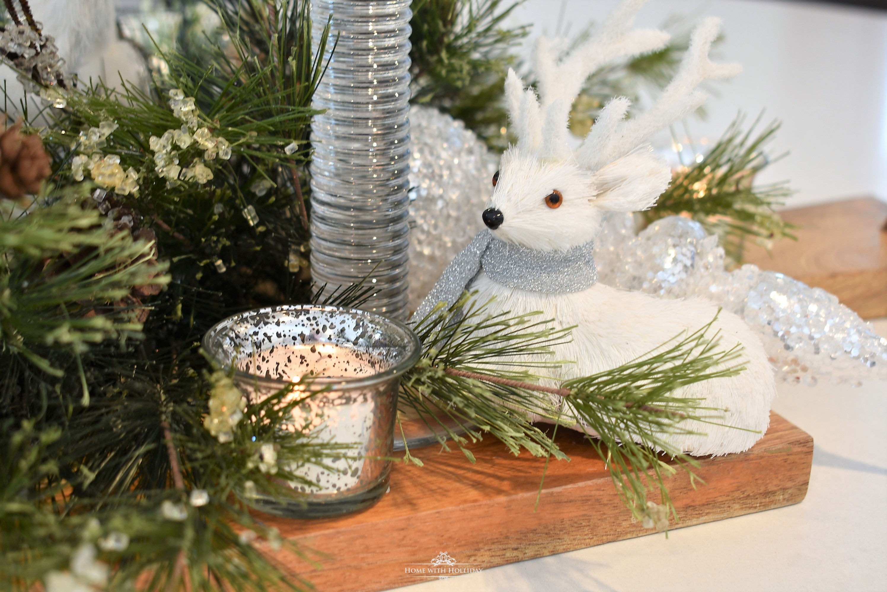 Cute Winter White Christmas Centerpiece - Home with Holliday