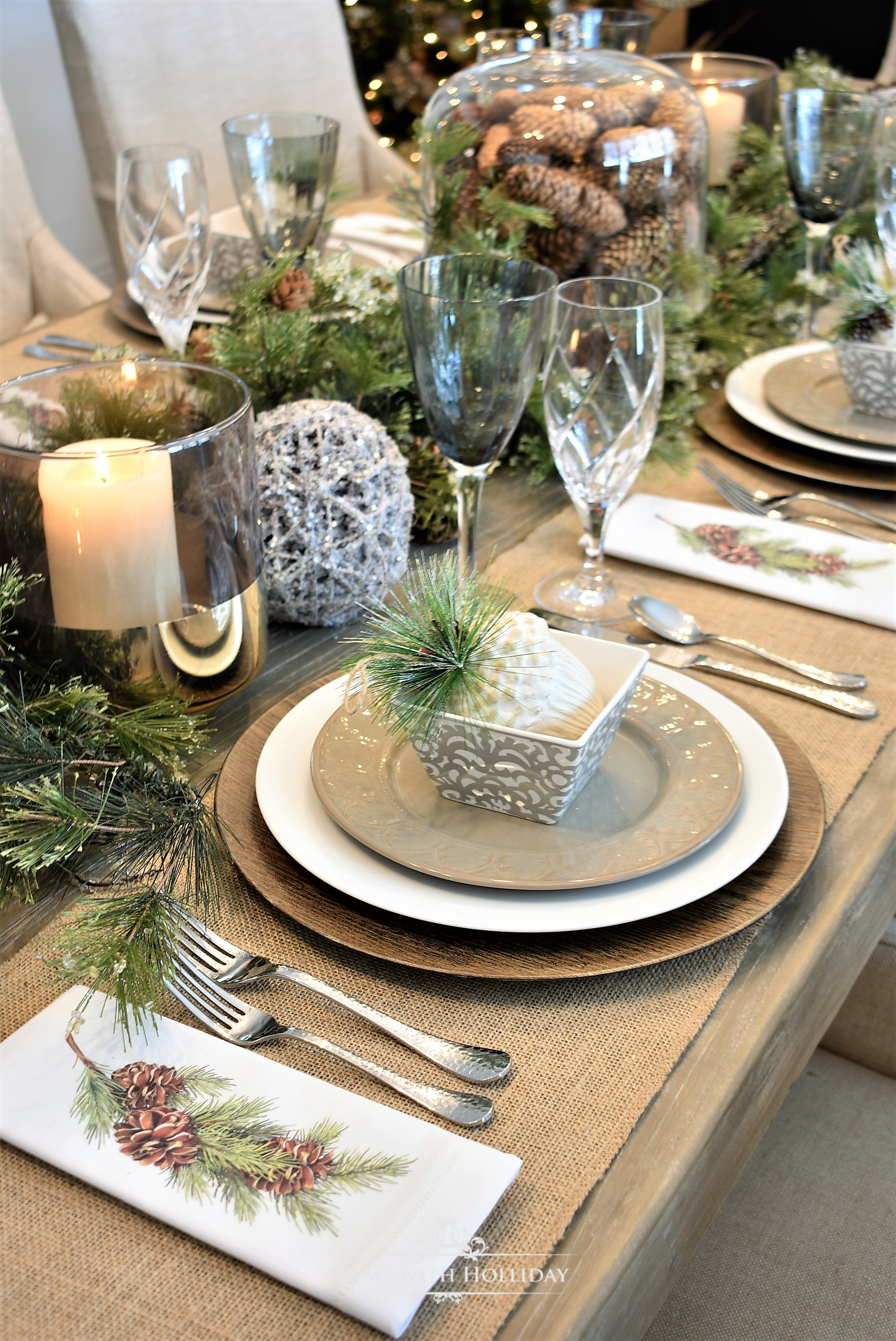 Simple Woodland and Pine Cone Christmas Table Setting - Home with Holliday