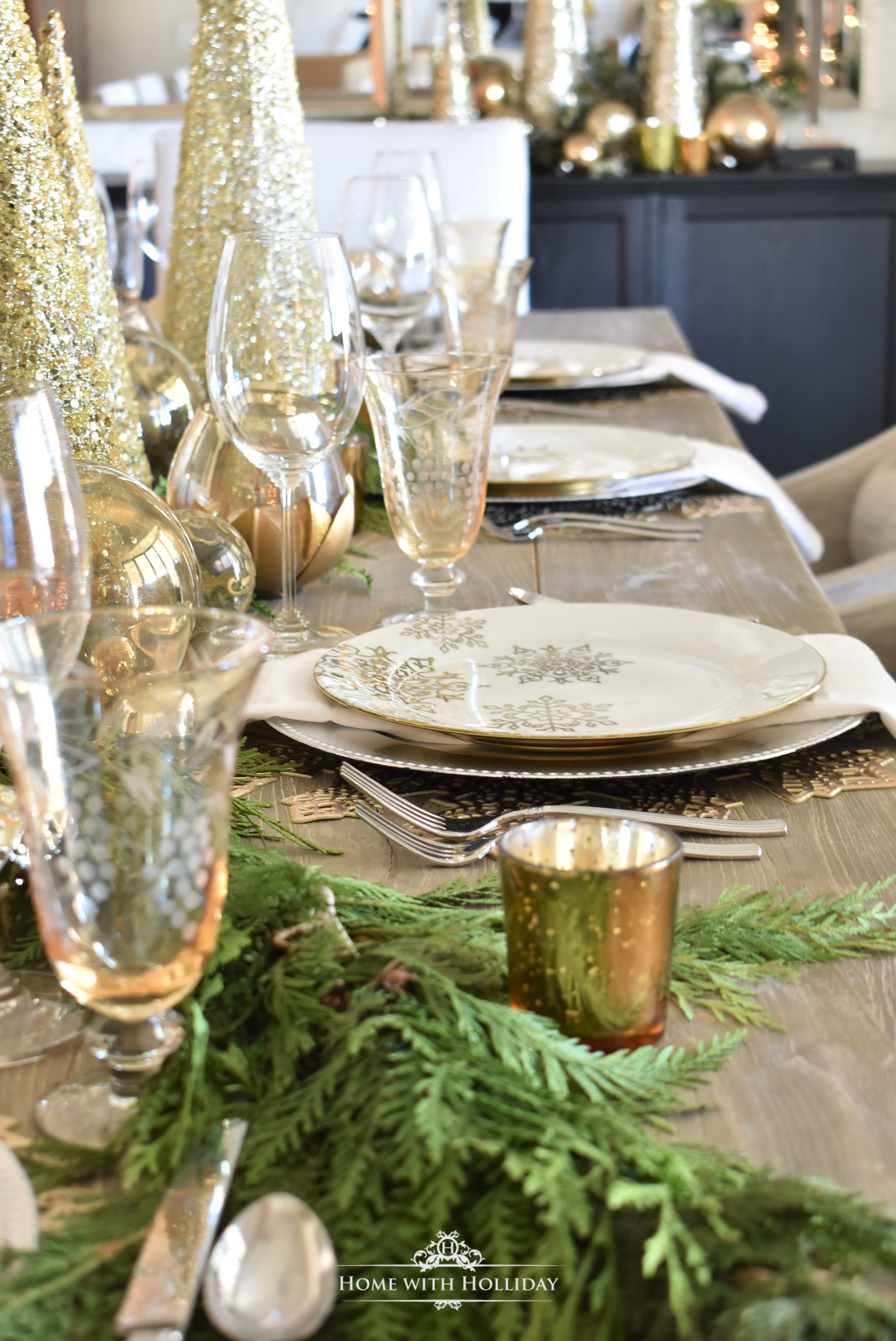 A Gold and Silver Snowflake Christmas Table Setting - Home with Holliday