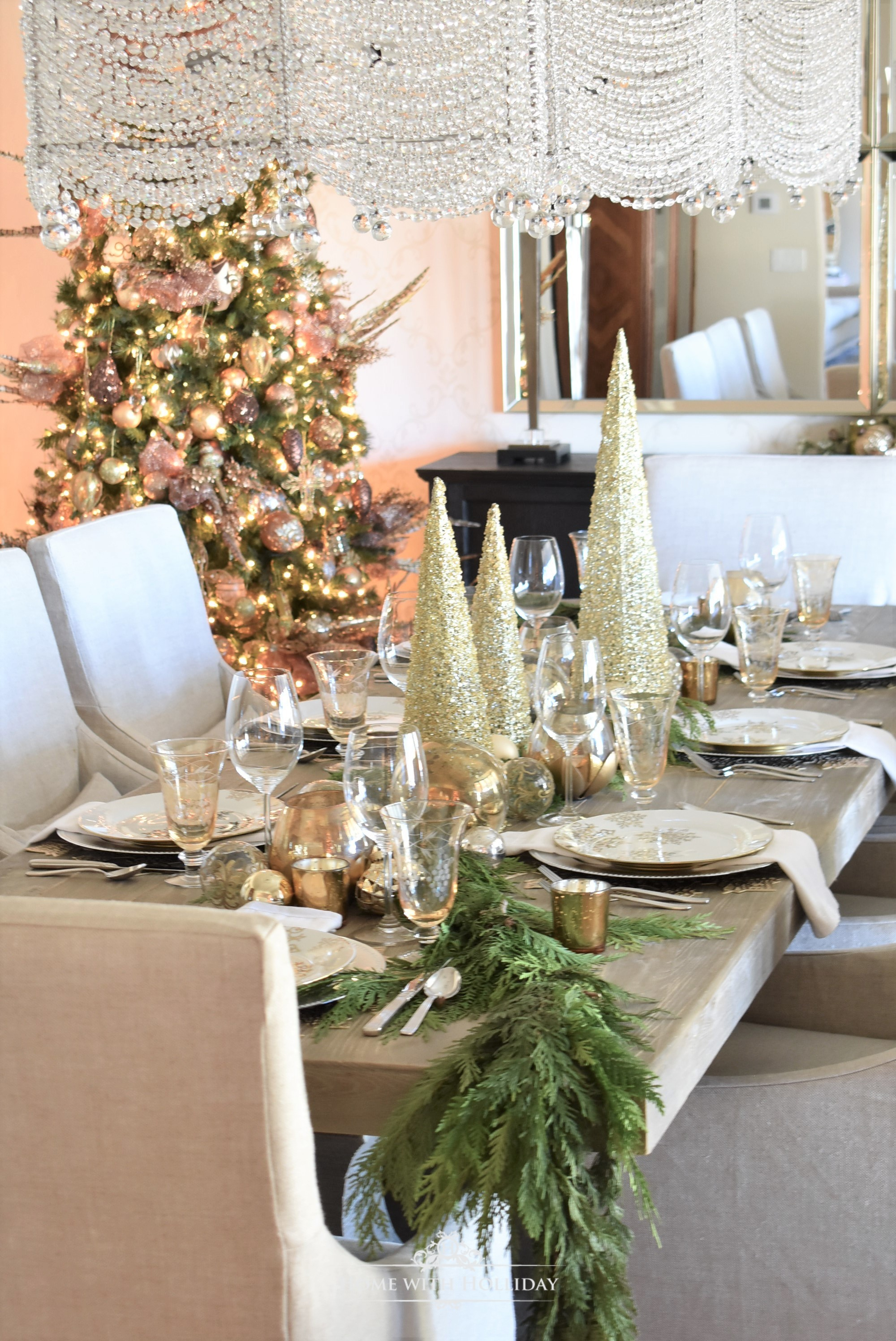 Gold and Silver Snowflake Christmas Table Setting - Home with Holliday