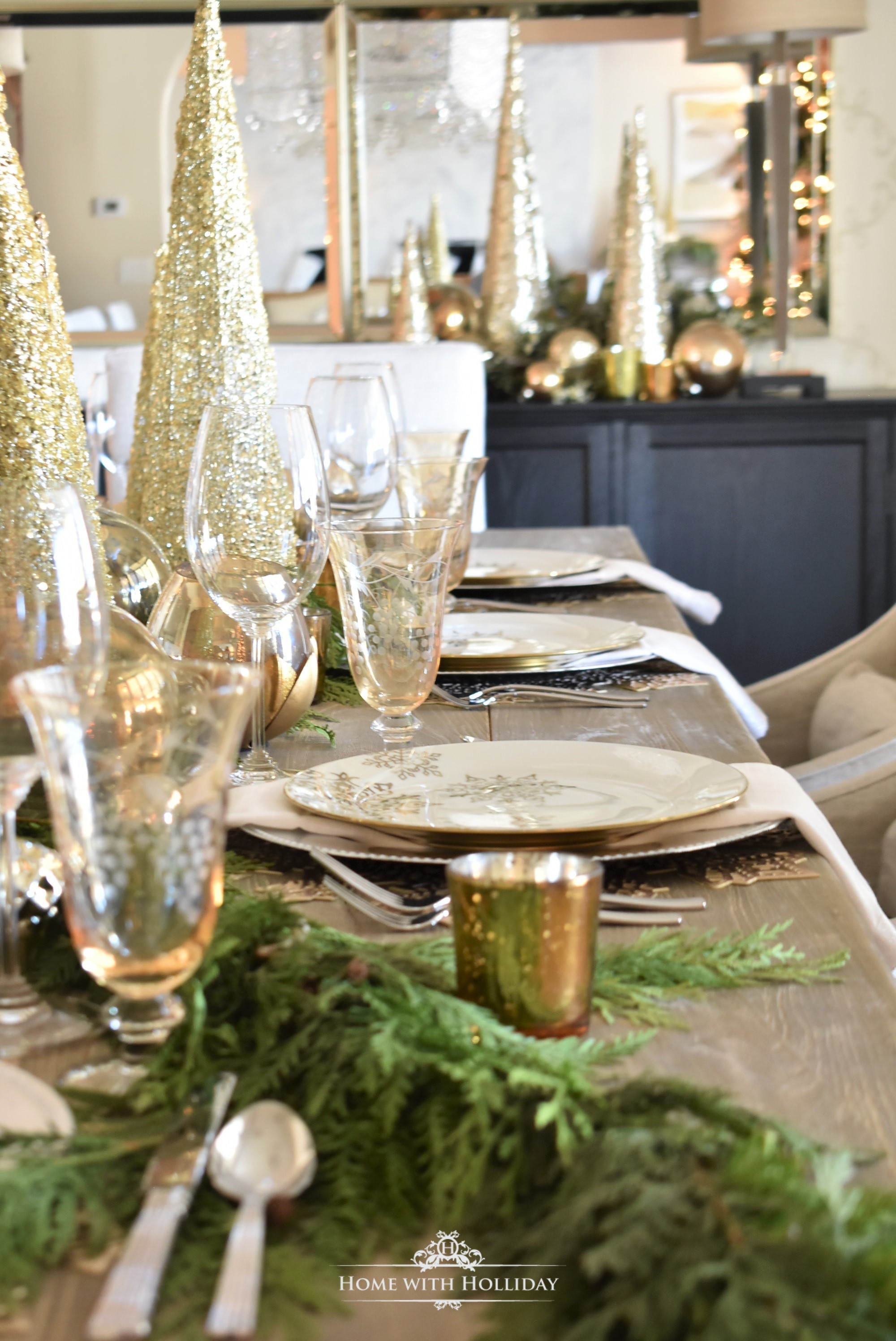 My Christmas Home Tour - Gold and Silver Snowflake Christmas Table Setting - Home with Holliday