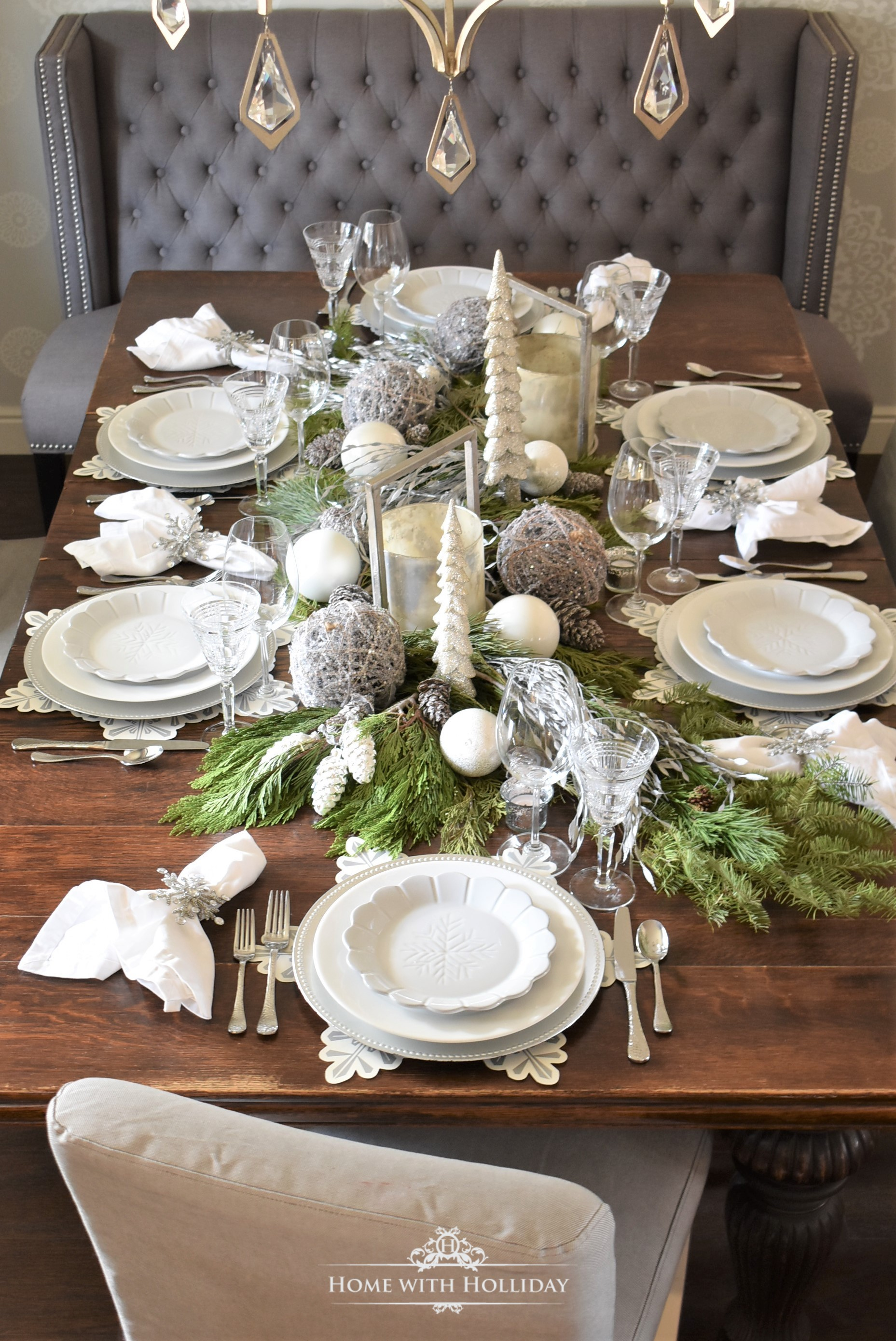 Winter White Snowflake Christmas Table Setting - Home with Hollida