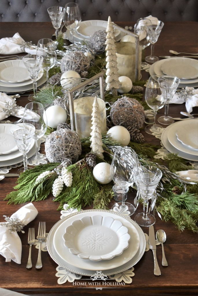 Centerpiece for my Winter White Snowflake Christmas Table Setting - Home with Holliday