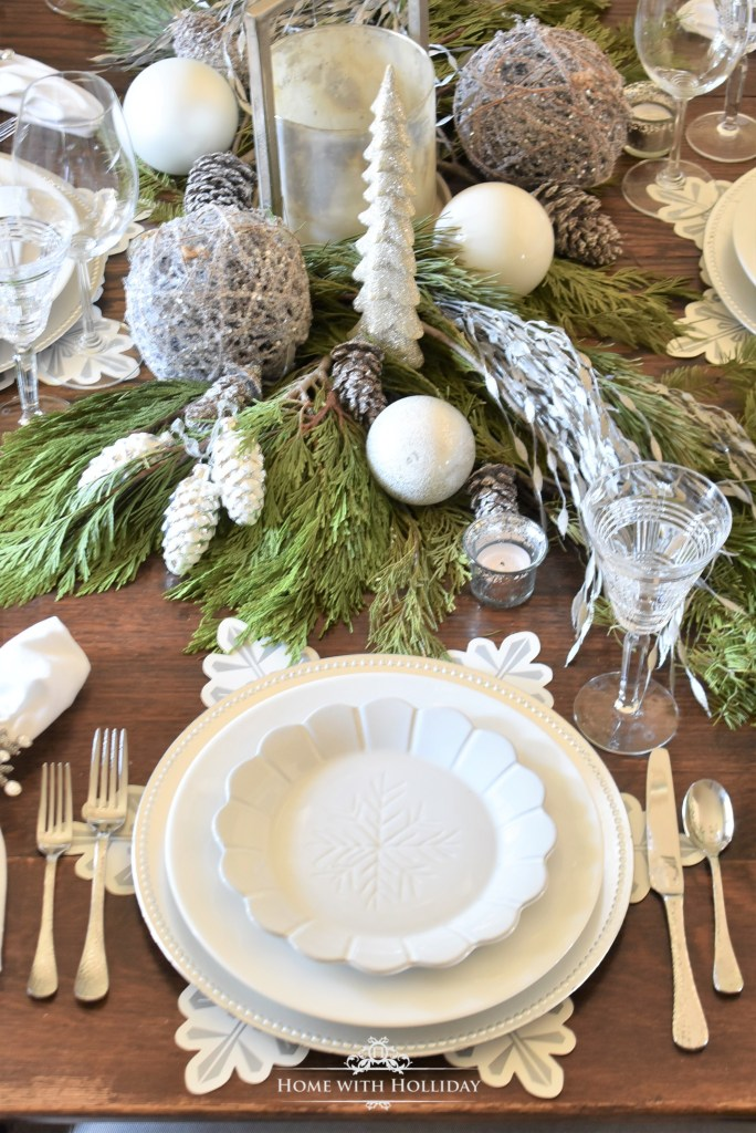 Simple Winter White Snowflake Christmas Table Setting - Home with Holliday