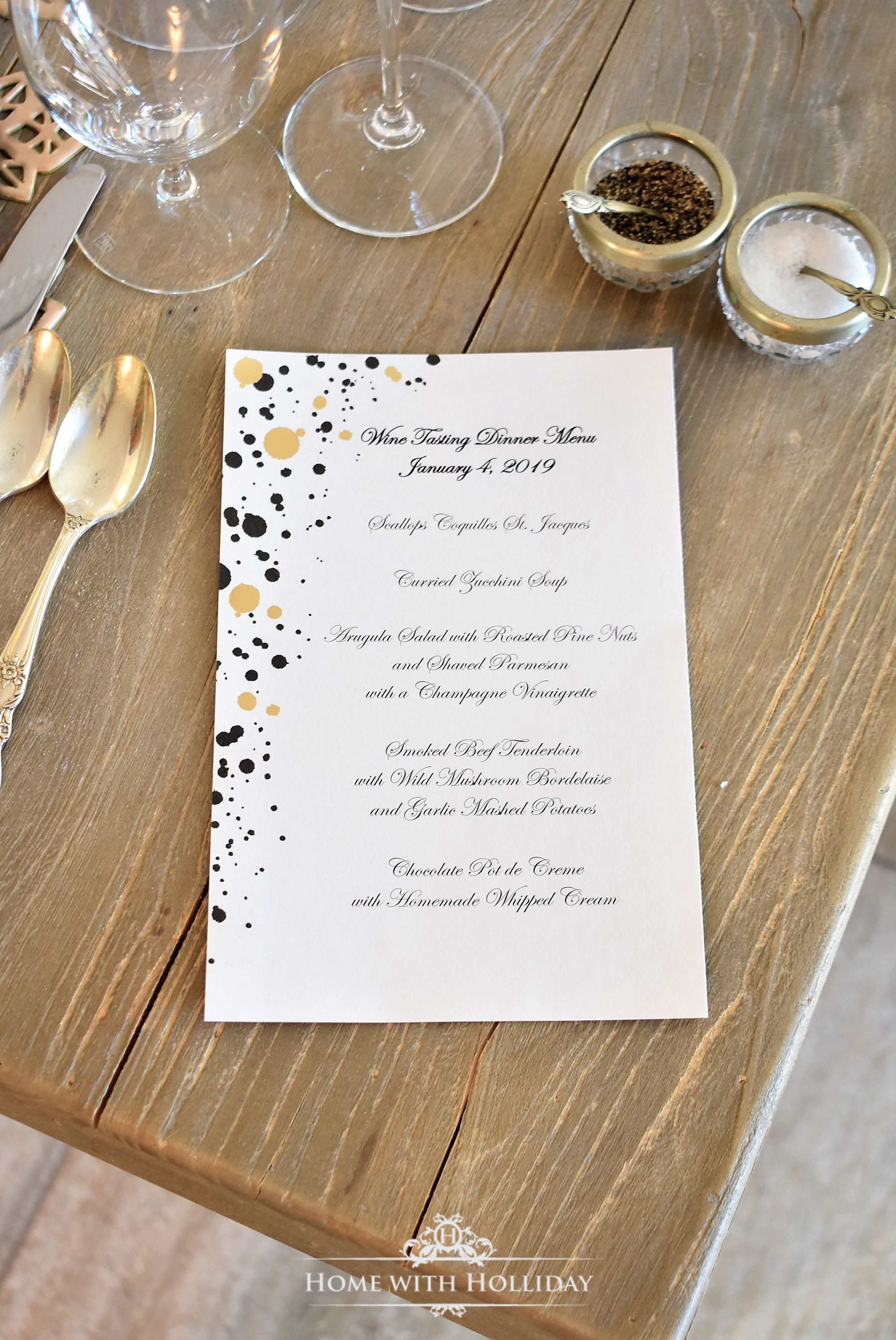 Menu for a Wine Tasting Dinner Party for New Year's Eve or Valentine's Day - Home with Holliday