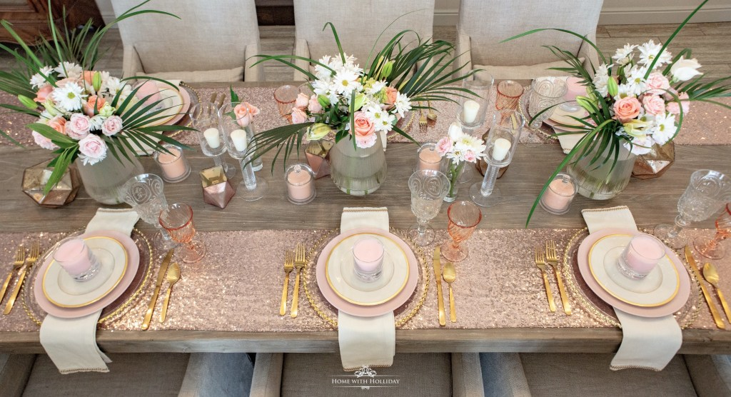 Blush Pink And Gold Table Setting Home With Holliday