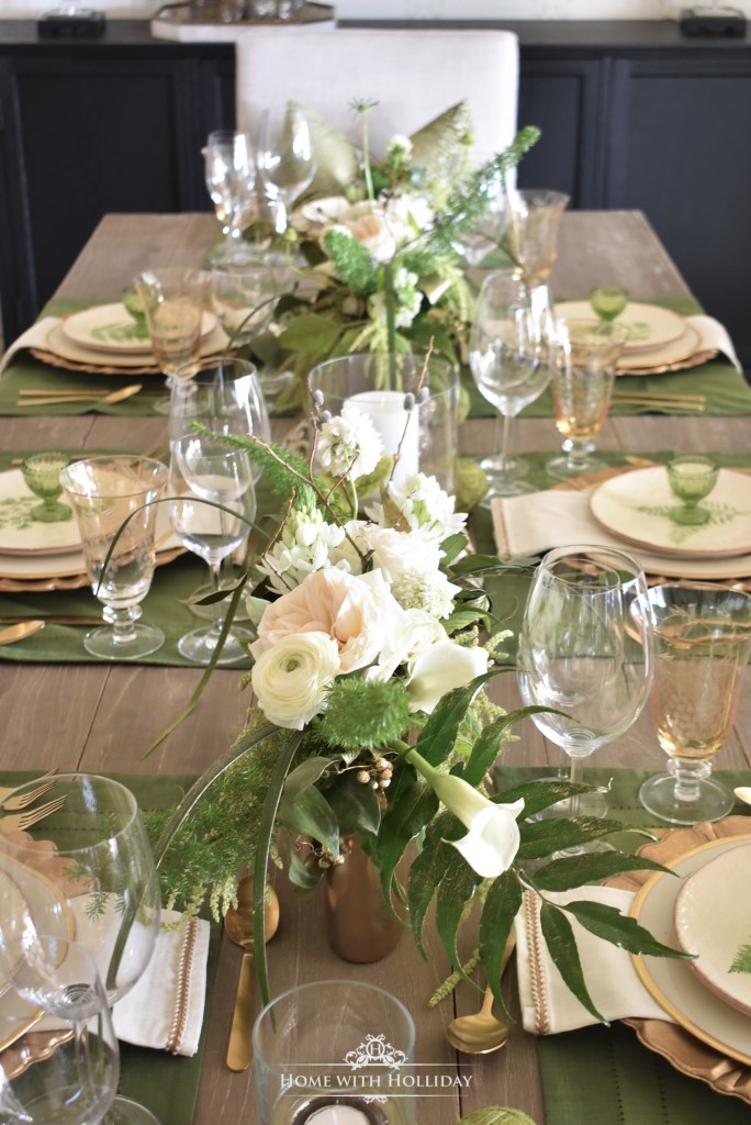 Flower Arrangements for my Green and Gold Easter Table Setting - Home with Holliday