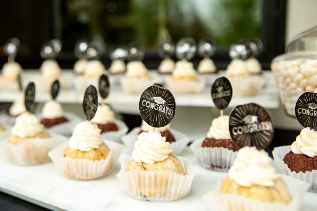 Black and White Outdoor Graduation Party Desserts - Home with Holliday