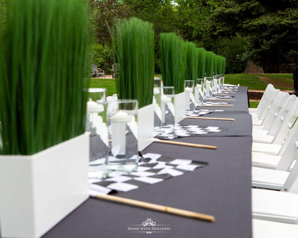 Table for our Black and White Outdoor Graduation Party - Home with Holliday
