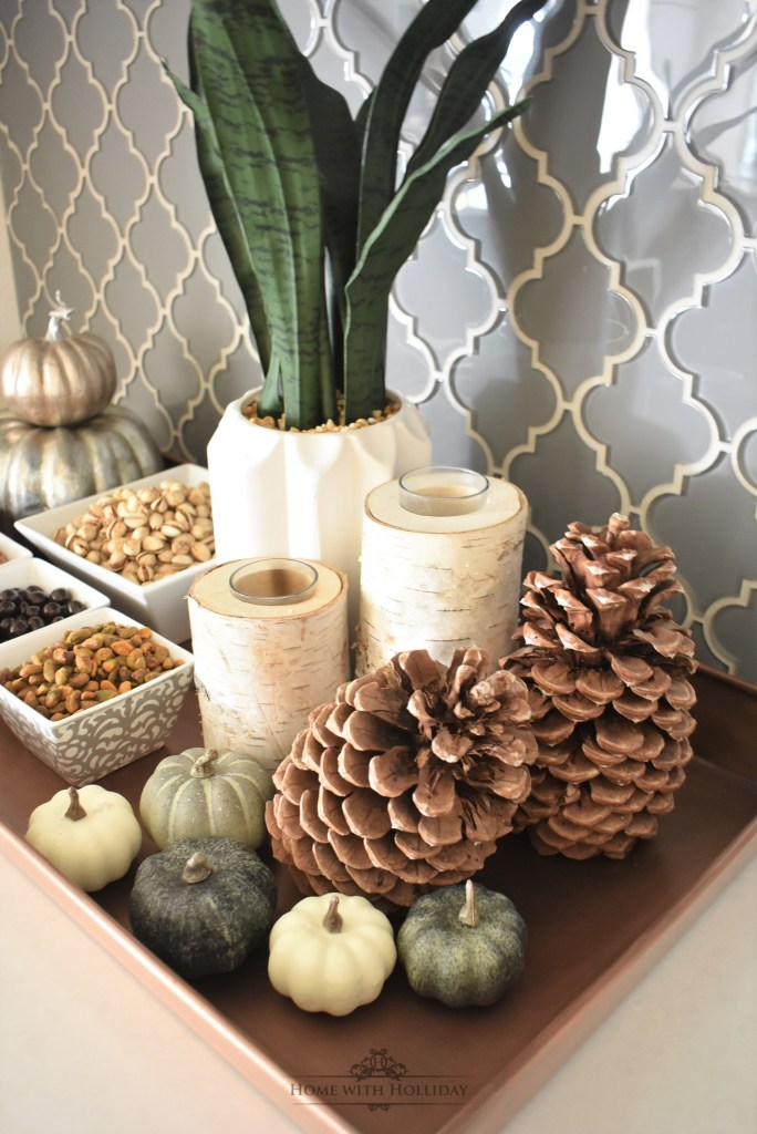 Easy Fall Vignette featuring Nuts and Snacks - Home with Holliday
