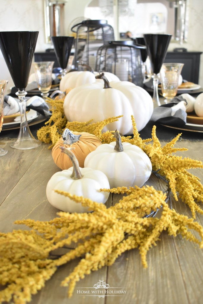 Rustic Harvest Gold Fall Tablescape Centerpiece - Home with Holliday